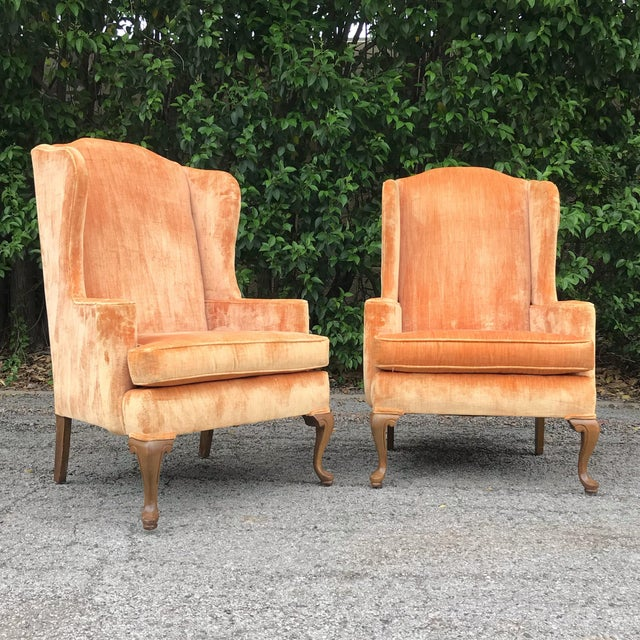 Vintage Velvet Wingback Chairs - a Pair For Sale In Dallas - Image 6 of 6