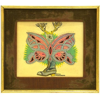 """Pedro Friedeberg Drawing """"Muñeco"""", Mexico City, Signed For Sale"""