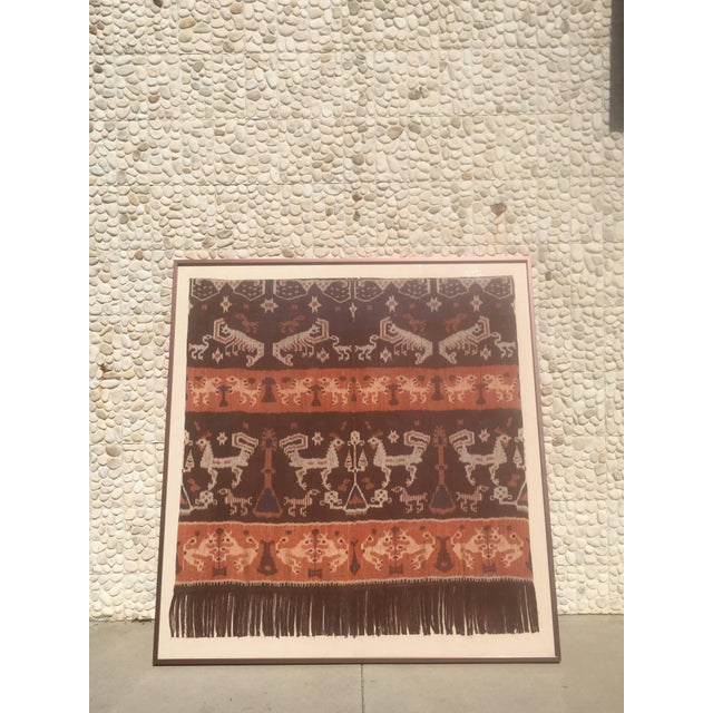 Rustic 19th Century Framed Indonesian Ikat Art From Steve Chase Palm Springs Estate For Sale - Image 3 of 6