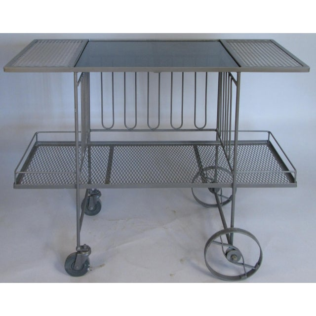 Glass Wrought Iron & Glass 1950's Bar Cart by Salterini For Sale - Image 7 of 7