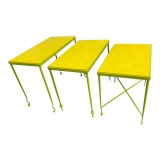 Custom Design Wood + Metal Nesting Tables - Set of 3 For Sale