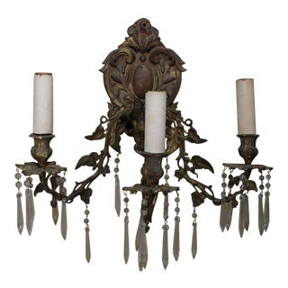 Ornate Bronze Rococo Wall Sconce, Set of 2 For Sale