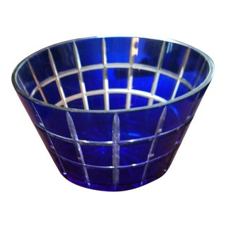 Cobalt Blue Bohemien Cut Crystal Bowl For Sale