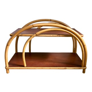 """Vintage Ficks Reed """"Double Swoop Arch"""" Rattan Side Table For Sale"""
