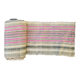Homespun Roll Indigo and Pink Stripe Textile For Sale