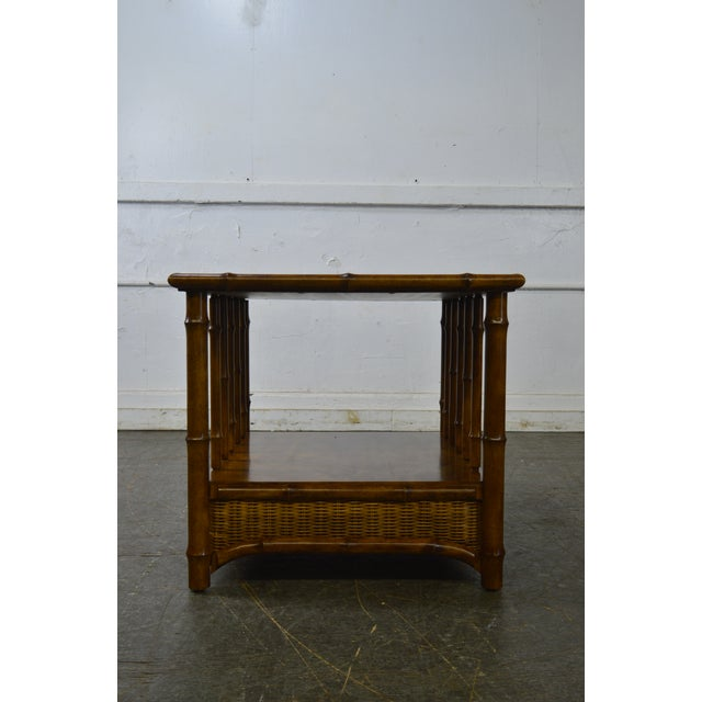 Traditional Faux Bamboo & Wicker Side Table by American of Martinsville For Sale - Image 3 of 13