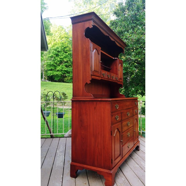 Traditional Frederick Duckloe & Bros Solid Wild Black Cherry Sideboard & China Cabinet Hutch For Sale - Image 3 of 13