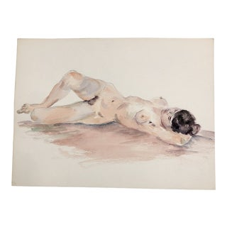 Vintage Original Female Nude Watercolor Painting 1970's For Sale