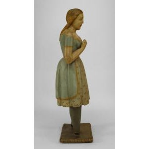 Americana American Country style life size wood figure of young girl For Sale - Image 3 of 11