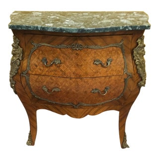 French Marquetry Inlaid Green Marbletop Commode For Sale