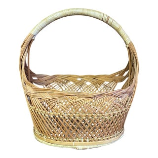 1970's Vintage Two Tone Wicker Basket For Sale