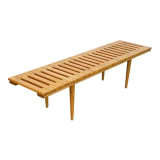 1960s Scandinavian John Keal for Brown Saltman Style Slat Bench Table For Sale
