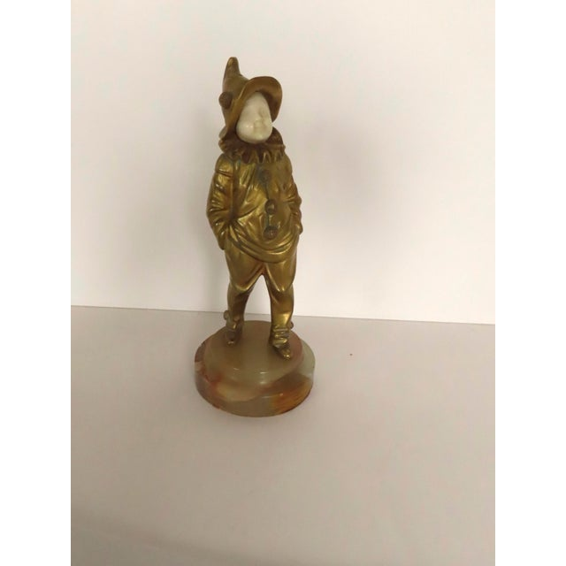 Gold French Bronze Pierrot Boy Signed Sculpture by George Omerth For Sale - Image 8 of 10