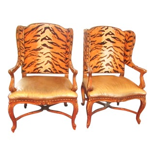 Ralph Lauren Leather and Crushed Velvet Leopard Print Side Chairs - a Pair For Sale