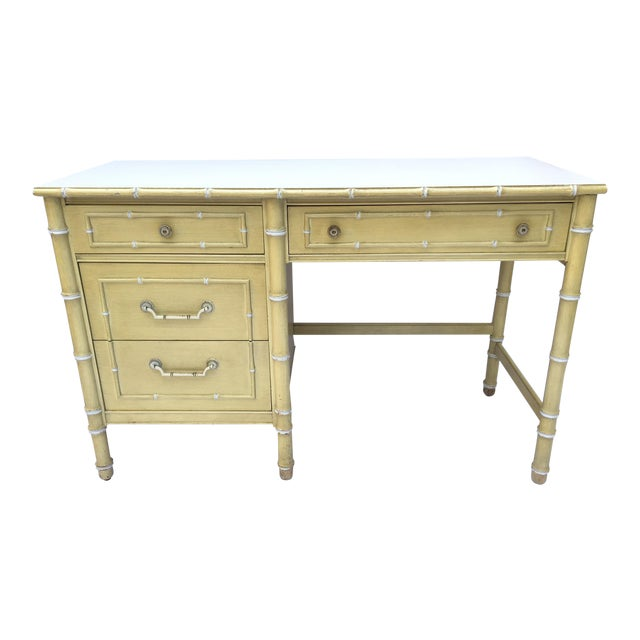Thomasville Hollywood Regency Faux Bamboo Allegro Writing Desk