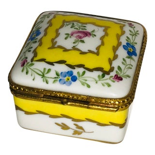 1970s Vintage Limoges Yellow White Floral Box For Sale