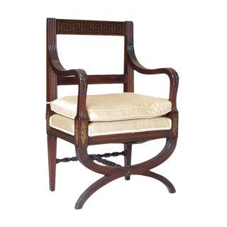 Regency Style English Mahogany Greek-Key-Design Hall Chair