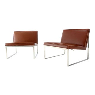 Mid-Century Modern Brown Leather Lounge Chairs - A Pair