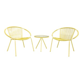 Mid-Century Modern Yellow Hoop Chairs With Side Table - Set of 3