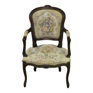 1960s Vintage Carved Italian Tapestry Accent Chair For Sale