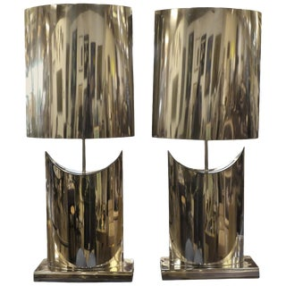 Large Curtis Jere Stainless Lamps and Shades - a Pair For Sale