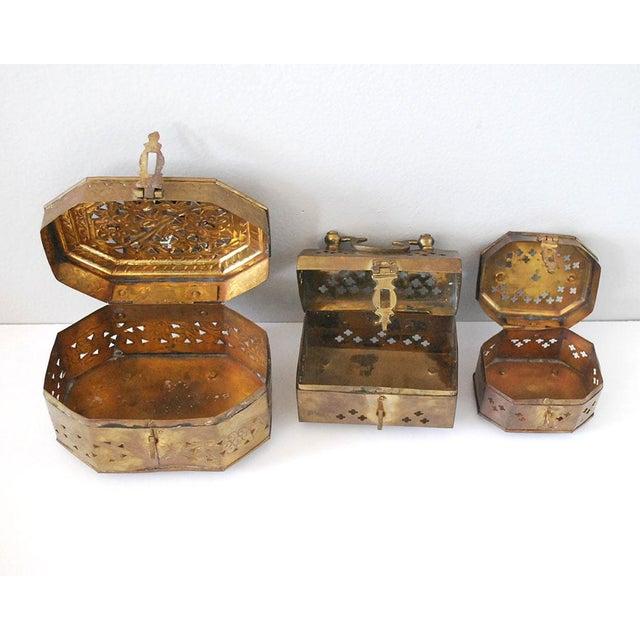 Vintage Indian Brass Cricket Boxes - Set of 3 For Sale - Image 4 of 8