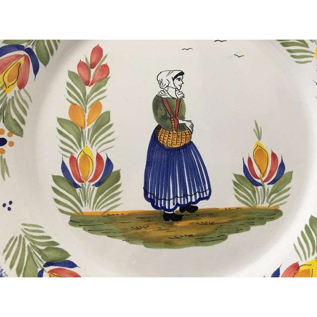 Figurative Vintage Henri Quimper Faience Bretonne Woman Charger For Sale - Image 3 of 8