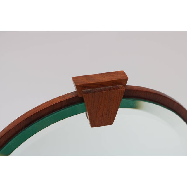 Mid 20th Century Vanity Table Mirror in Mahogany, Walnut and Brass by American Artisan For Sale - Image 5 of 7