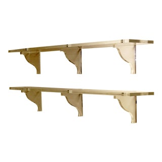1970s Mid Century Modern Wall Mounted Floating Lucite Shelves - 2 Pieces For Sale