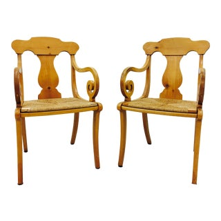 Vintage Shield Back Birdseye Arm Chairs - A Pair