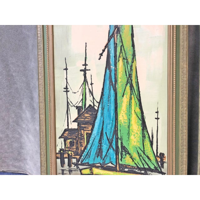 Mid Century Modern Green Sailboat Signed and Framed Prints - a Pair For Sale - Image 4 of 10
