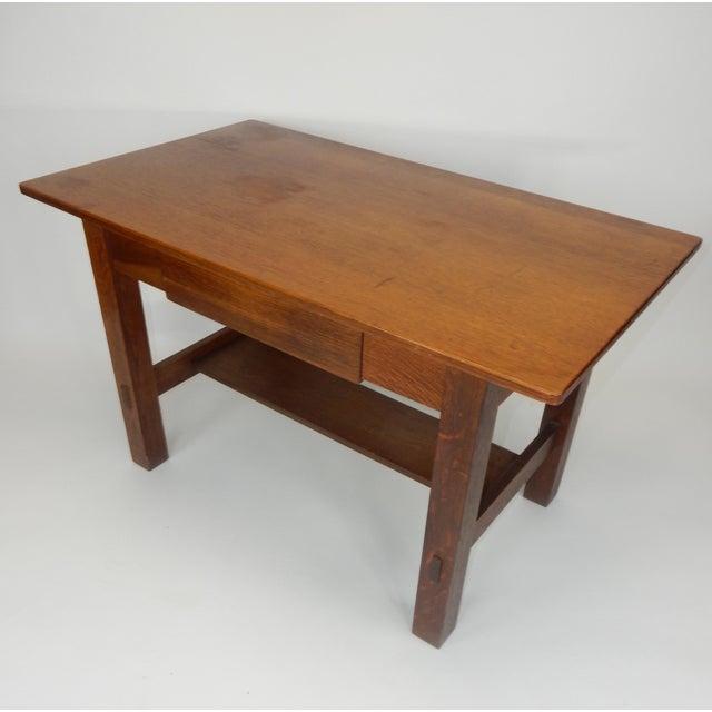 Arts & Crafts Antique Signed Charles Limbert Mission Oak Library Table/ Desk For Sale - Image 3 of 13