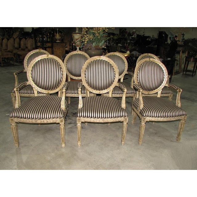 French Louis XV Carved Wood Oval Back Dining Arm Chairs - Set of 7 For Sale - Image 13 of 13