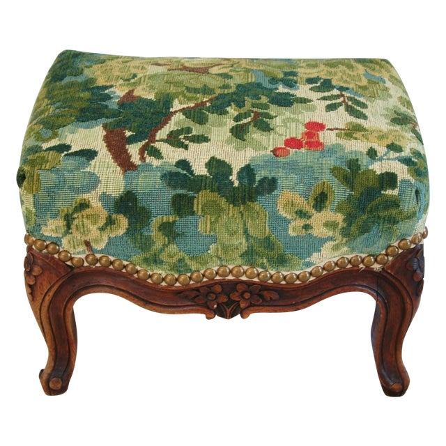Vintage Italian Scalamandre Fabric Footstool - Image 1 of 10