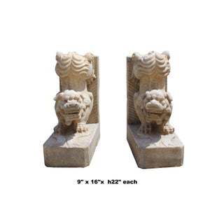 Chinese Pair Distressed Brown White Stone Fengshui Foo Dog Statues Preview