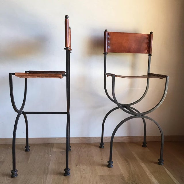 Metal Rare Vintage Restored Hand Forged Solid Iron Campaign Safari Spanish Saddle Leather Rustic Neoclassical Bar Stools - a Pair For Sale - Image 7 of 13