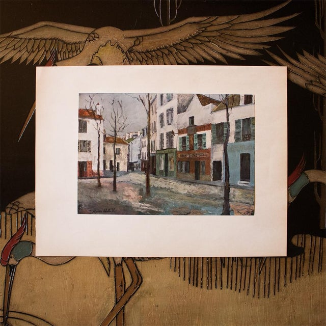 """French 1950s Maurice Utrillo First Edition Lithograph """"Place Du Tertre"""" For Sale - Image 3 of 8"""