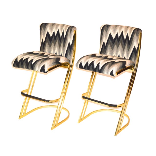 Brass Bar Stools by Design Institute America For Sale