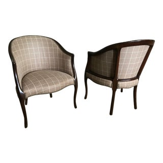 Late 20th Century Vintage Ralph Lauren Fabric Library Club Chairs - a Pair