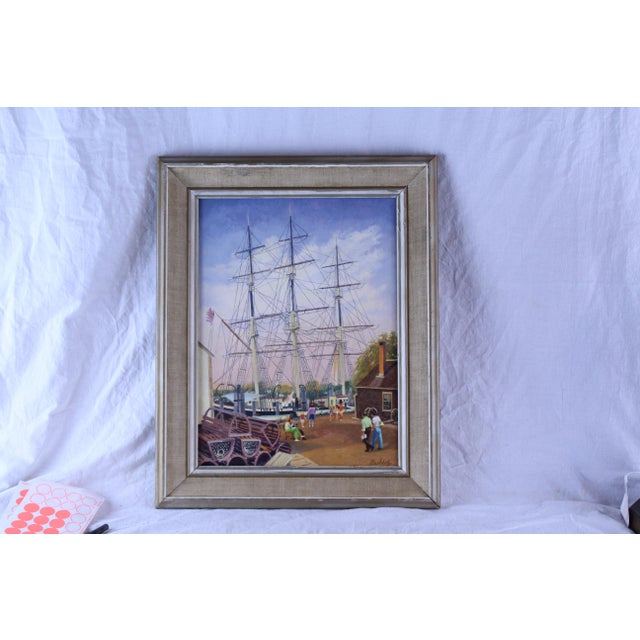 """Americana 20th Century Nautical Painting, """"Masts at Mystic"""" by Frederick Buchholz For Sale - Image 3 of 4"""