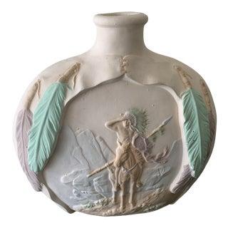 Vintage 80s Pastel Indigenous Native Ceramic Pottery Vase For Sale
