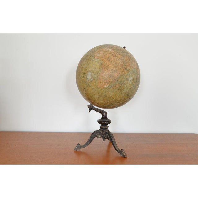 Early 20th C French Antique Globe Terreste With Cast Iron Base For Sale - Image 4 of 6