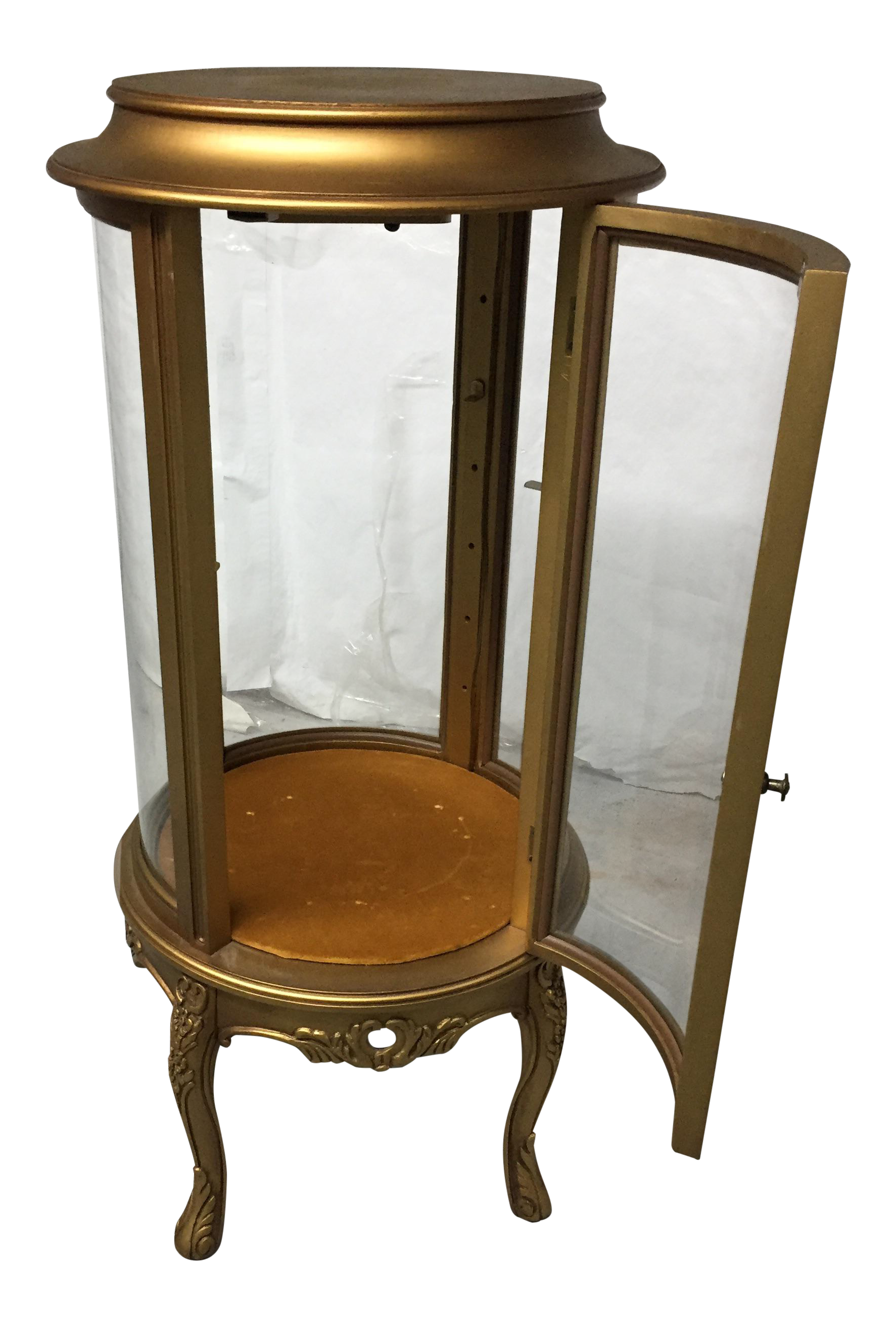 Lighted Gold Round Curio Cabinet
