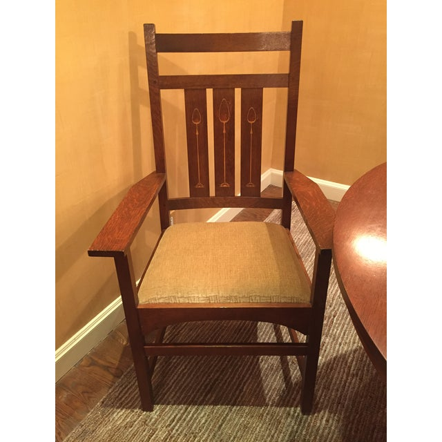 Stickley Pedestal Dining Table & Harvey Ellis Chairs For Sale In New York - Image 6 of 9