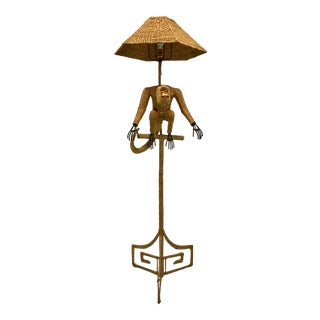 1970s Mario Lopez Torres Mid-Century Wicker Monkey Floor Lamp For Sale