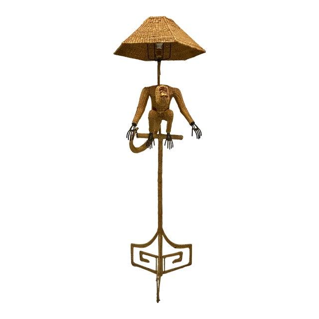 1970s Mario Lopez Torres Mid-Century Wicker Monkey Floor Lamp For Sale