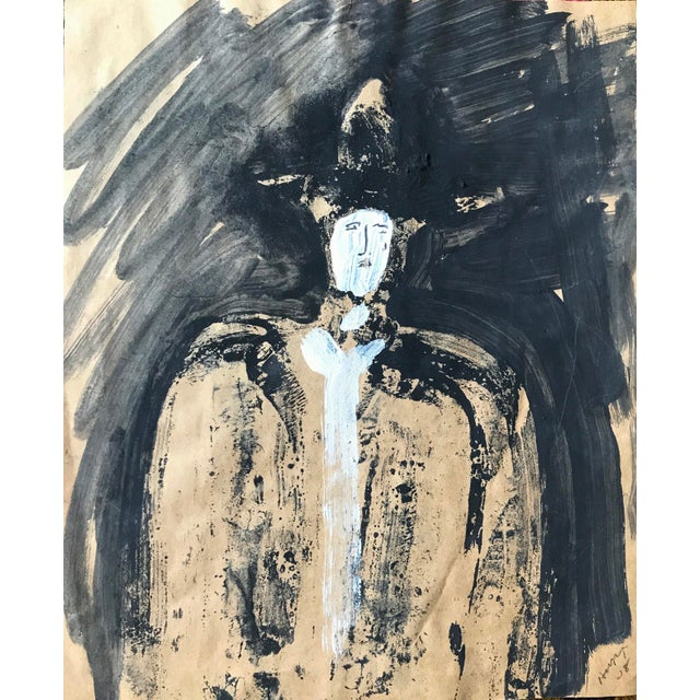 "1968 Jack Hooper ""Man With Hat"" Painting - Image 2 of 8"