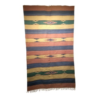 "Vintage Southwest Geometric Kilim Carpet - 4' 8"" X 7' 9"" For Sale"