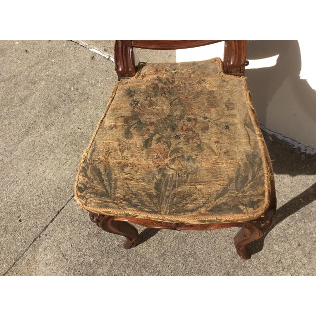 French 18th C. Original French Aubusson Tapestry Side Chair For Sale - Image 3 of 11