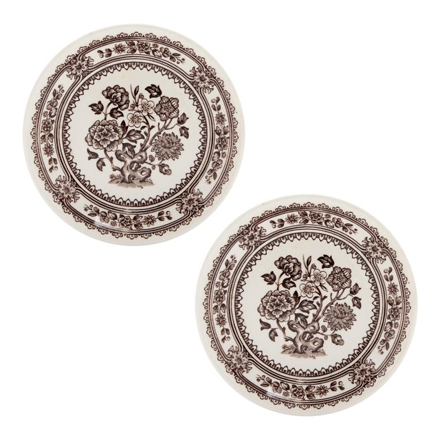 """Small English Ironstone Brown Transferware Plated """"Dorset"""" by Wood & Sons, Pair For Sale"""